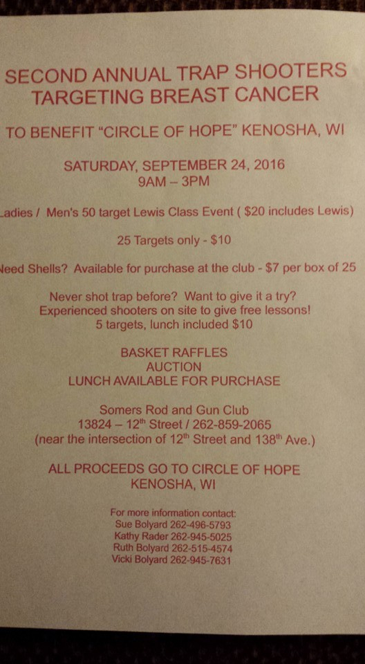 Trap shooting, breast cancer, circle of hope, gun club